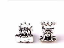 Silver princess charm charms queen crown bracelet european PD snake slide UK