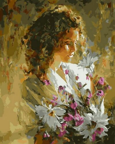 Lady Rose Oil Paintings By Numbers Acrylic Canvas Picture Wall Art Wedding Decor