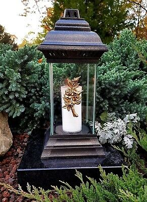 Grablaterne Grablampe Grableuchte Teelicht Grablicht Kerze Engel Grabstein Neu Modernes Design