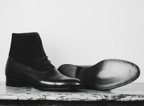 botas para hombre hecho a mano tobillo con Cordones Cuero Negro Puntera Zapatos Informales Ropa Formal