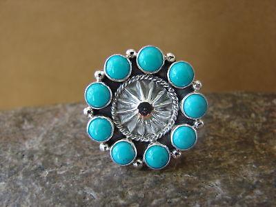 Navajo Turquoise Sterling Silver Handmade Cluster Ring Pamela Benally SZ 6