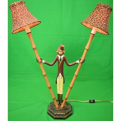 Pair of Monkey 'Bellhop' Metal Bamboo Lamps w Leopard Print Felt Shades New!   eBay