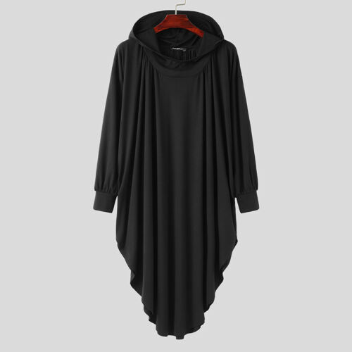 Mens Gothic Punk Jumper Cardigan Coat Long Jacket Cape Cloak Poncho Outwear Tops