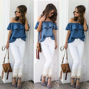 US-Women-039-s-Sexy-Summer-Off-Shoulder-Tops-Casual-Party-Shirt-Cotton-Denim-Blouse