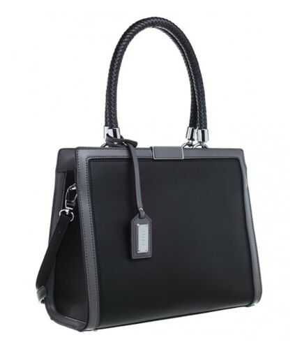 Bessie London Faux Leather structured Tote bag with hanging fob