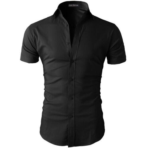Men Stylish Shirt Casual Formal Slim Fit Short Sleeve Luxury Tee Shirt Top Dress