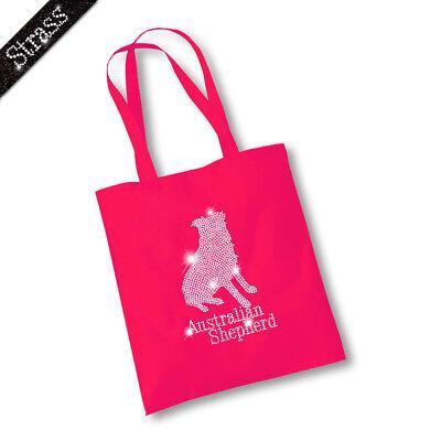 Jutebeutel Beutel Bag Einkaufstasche Shopper Strass Australian Shepherd M2