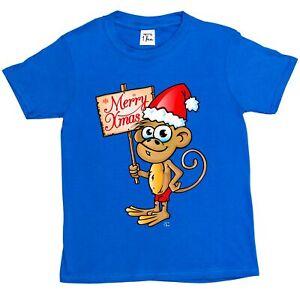 1Tee Mens Christmas Cheeky Monkey with Santa Hat T-Shirt