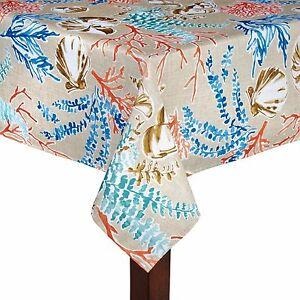 Marvelous Coastal Settings Fabric Tablecloth Elrene Printed Seashells Coral