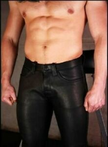 Black-Leather-Men-039-s-Pants-Cowhide-Motorcycle-Breeches-Genuine-Jeans-Trousers