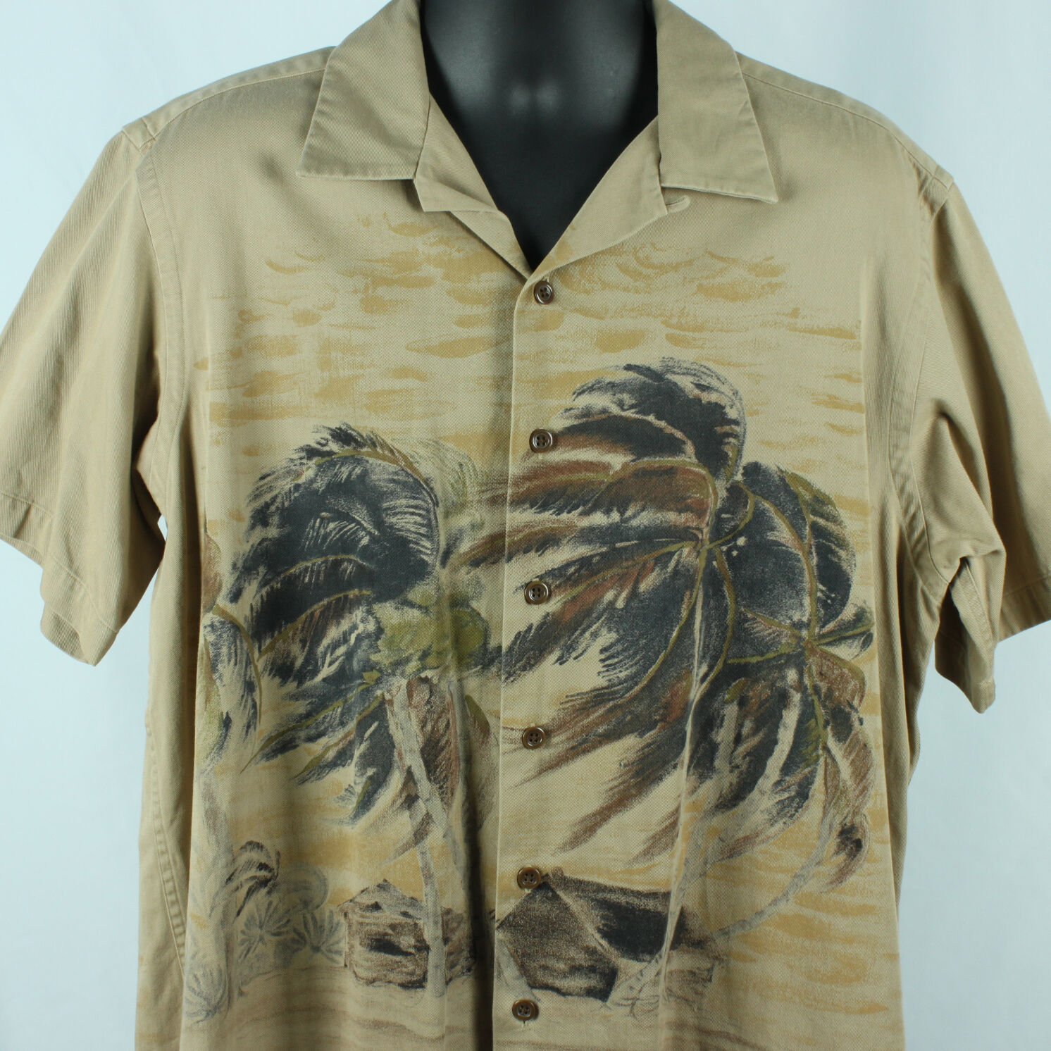 Polo By Ralph Lauren Mens L Hawaiian Shirt Vintage Camp Tan Palm Trees S S Large