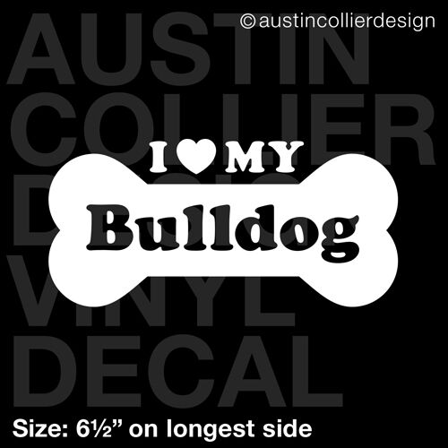 "6.5/"" BULLDOG vinyl decal car window laptop sticker dog breed rescue"