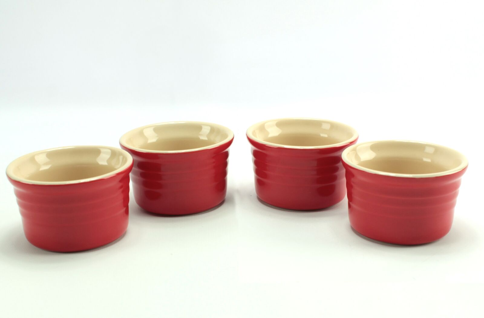 (4) LeCreuset rot Ribbed Stoneware Custard Ramekins Condiment Cups 10-43
