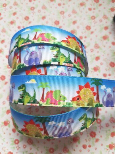 1 M X Mignon Dinosaures gros-grain Ribbon Craft Fête Gâteau Cheveux Nœud Emballage Cadeau 22 mm