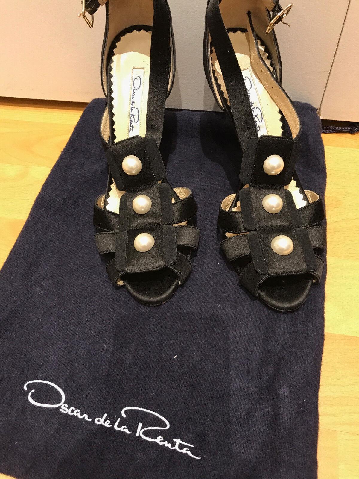 Oscar de la Renta Black Silk Satin Large White White White Pearl T-Strap shoes 36 CAMDAY de0e7b