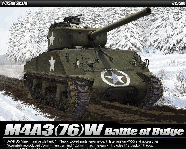 Academy 13500 1 35 M4A3 Sherman 76mm US Army slåss of the Bulge Tank modelllllerler Kit
