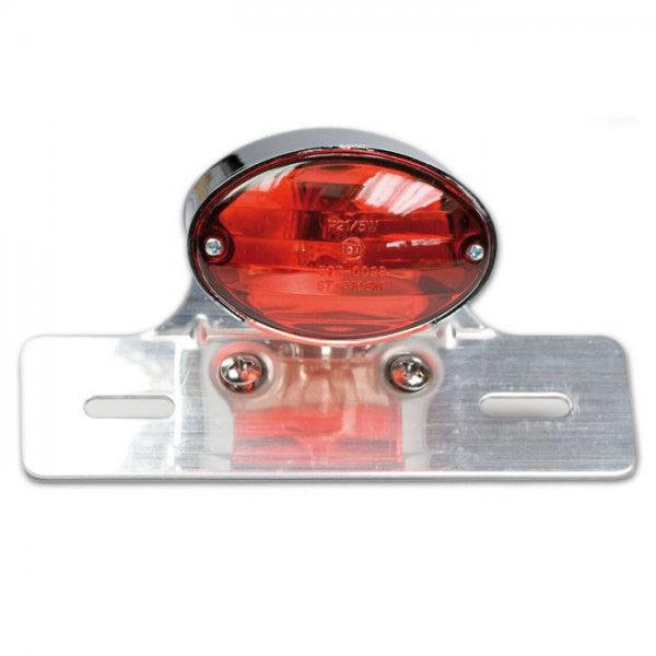 Rücklicht-Cat-Eye-Mini, chrom, rotes Glas, m. KZB, B 82 x H 50 mm, m. Halter, E-