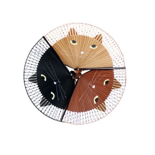 Japanese Cosplay Silk Bamboo Hand Held Cartoon Cat Folding Fan Party Gift UK.ßß