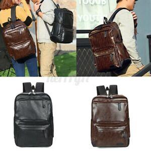 Men-Women-Leather-Backpack-School-Shoulder-Bag-Travel-Rucksack-Handbag-Satchel