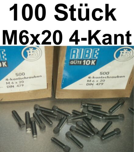 100 4-Kantschrauben Schraube M6x20 Schrauben 4-Kantschraube Vierkantschraube