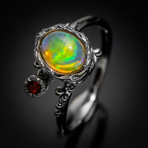 Christmas-Gift-Handmade-Vintage-Ring-Natural-Opal-925-Sterling-Silver-RVS24