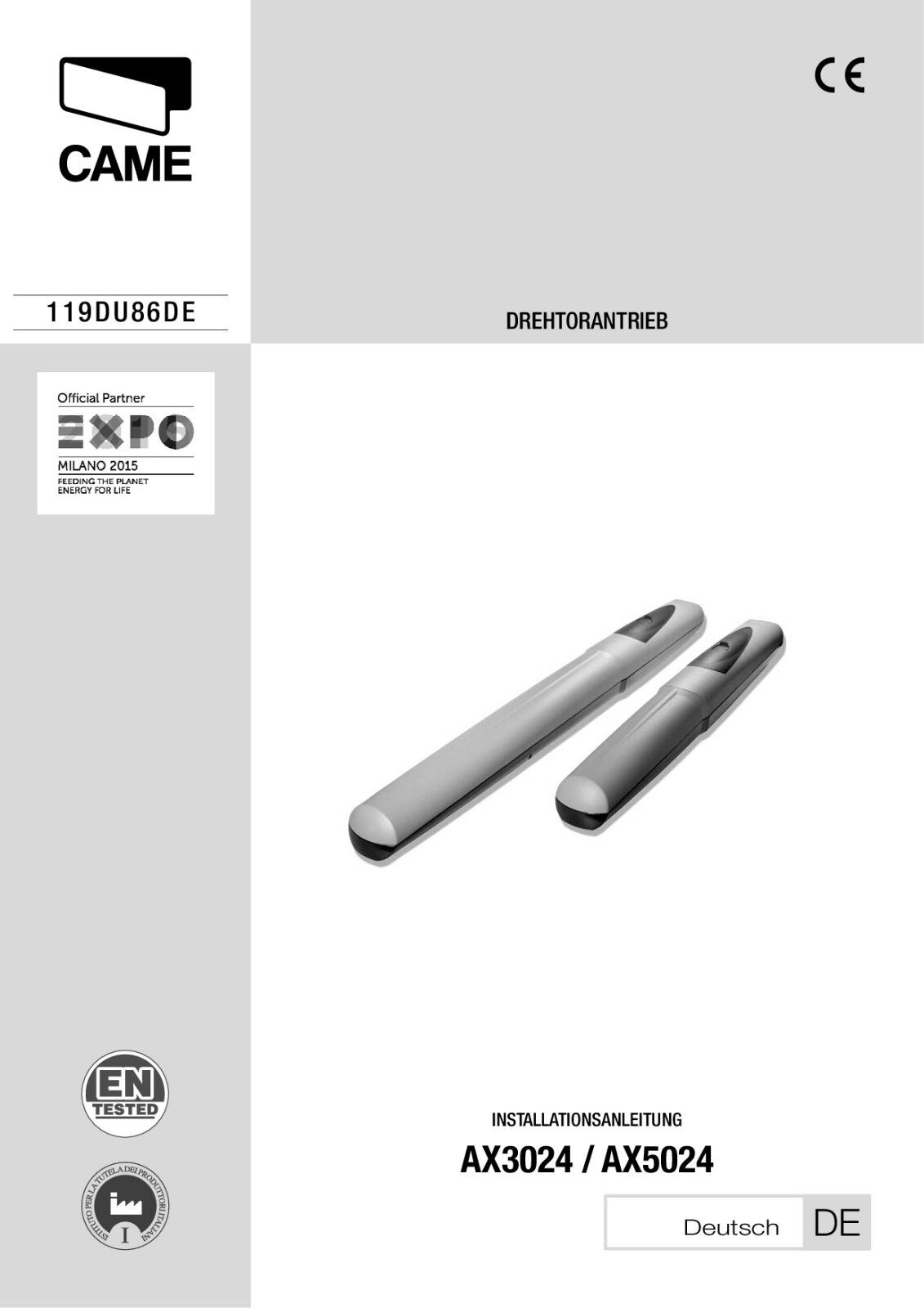 CAME AXO AX5024 SET 1 flügl. Torantrieb bis 5 5 5 Meter, inkl. Steuerung ZLJ14 c02526