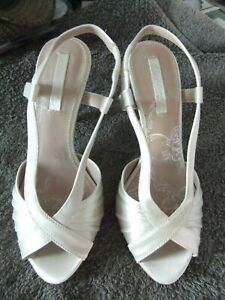 87834c6dee45d Ivory satin peep toe sandals from Next with elasticated strap.size ...