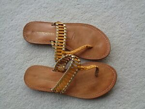 Warehouse-Size-3-Light-Orange-amp-Gold-Leather-Stitched-Flip-Flop-Sandals-Excellent