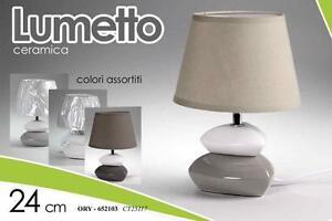 Lume lumetto ceramica abat jour 24 cm colori assortiti illuminazione casa