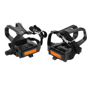 Mountain-Road-Bike-Cycling-Pedals-Integrated-Toe-Clips-Cages-Straps-Fixed-1-Pair