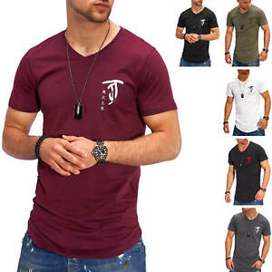 Jack-amp-Jones-T-Shirt-Hommes-V-Neck-Print-Shirt-Manches-Courtes-Shirt-De-Loisirs-Casual