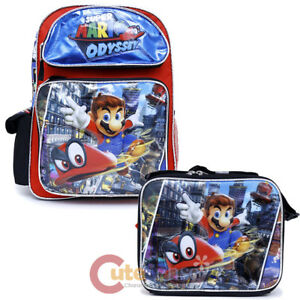 Super Mario Large School Backpack Lunch Snack Bag 2pc Book Bag Set Odyssey