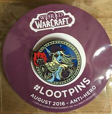 World Of Warcraft Pin/Badge & August 2016 Anti Hero Mag *Loot Crate Exclusive*