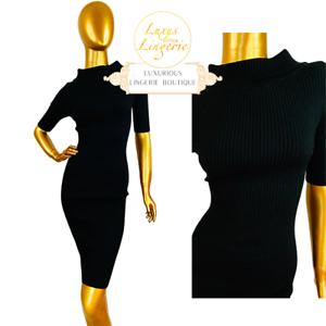 Merino Rib DRESS BY WOLFORD ✨ XS Black Noir ✨ avec laine et Nervure