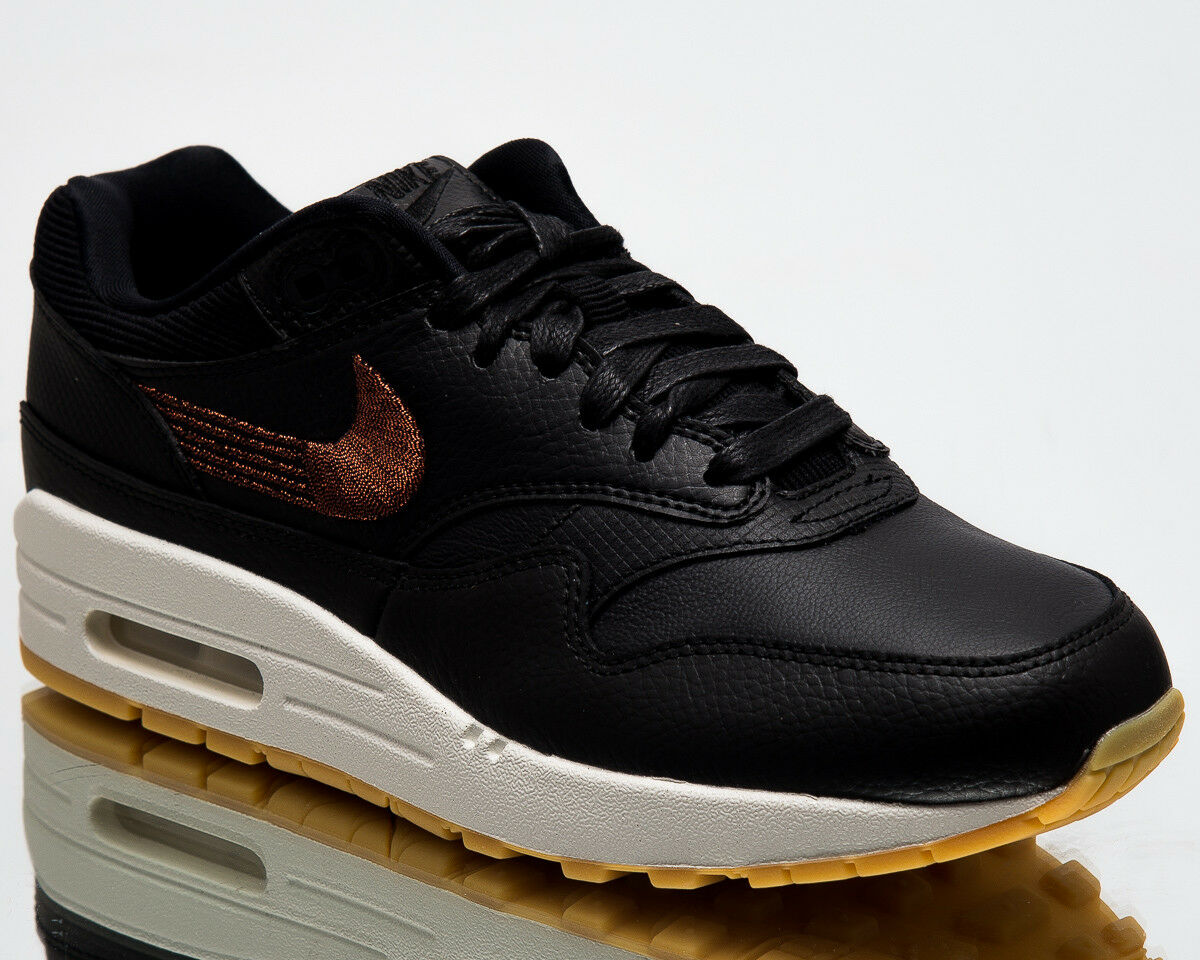 Nike Wmns Air Max 1 Premium Women New Sneakers Black Gum Yellow 454746-020