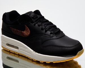 Nike Wmns Air Max 1 Premium Women New Sneakers Black Gum Yellow ... 08dab9ed73