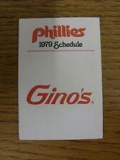 1979 Fixture Card: Baseball - Philadelphia Phillies (Ginos - fold out style). An