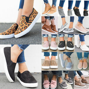 Women-Flats-Shoes-Slip-On-Loafers-Casual-Plimsolls-Pumps-Comfy-Sneakers-Trainers