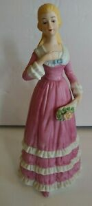 Vintage-Porcelain-Figurine-Woman-Lady-Pink-Dress-With-Flowers-8-1-2-034-Tall