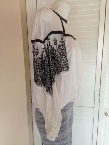 Free People $124 Carly Embroidered Bohemian Ivory