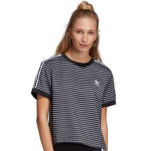 Detalles de Adidas Originals 3 Rayas Camiseta Damen T Shirt Camiseta Top Rayas de Rayas