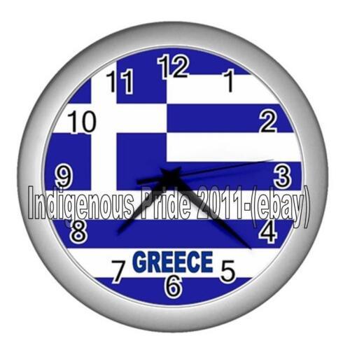 Greece Flag Wall Clock//Greek//GreeceFlag Wall Clock.Great Gift.Silver Frame