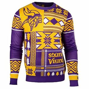 pretty nice a65d9 22298 Details about UGLY CHRISTMAS SWEATER NFL MINNESOTA VIKINGS PATCHES FOOTBALL  HOLIDAY XMAS CREW