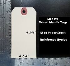 100 Count Size 4 Manila Inventory Shipping Hang Tags With Wire 4 14 X 2 18