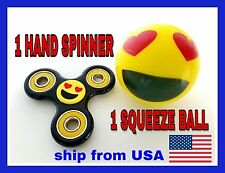 1 EMOJI HAND SPINNER AND 1 EMOJI SQUEEZE BALL. STRESS RELIEFE. LIMITED QUANTITY.