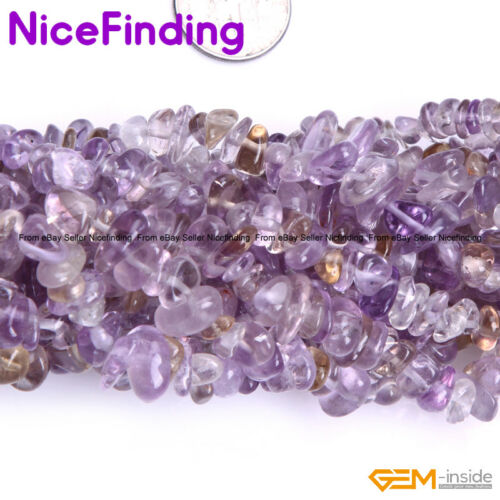 """Natural Stone Chips Beads Jewelry Making Necklace Bacelet Freeform 34/""""Ametrine"""