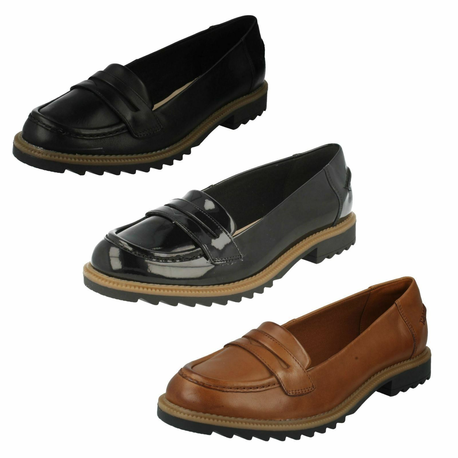 Ladies Clarks Loafers Loafers Loafers shoes - Griffin Milly 5d7f11