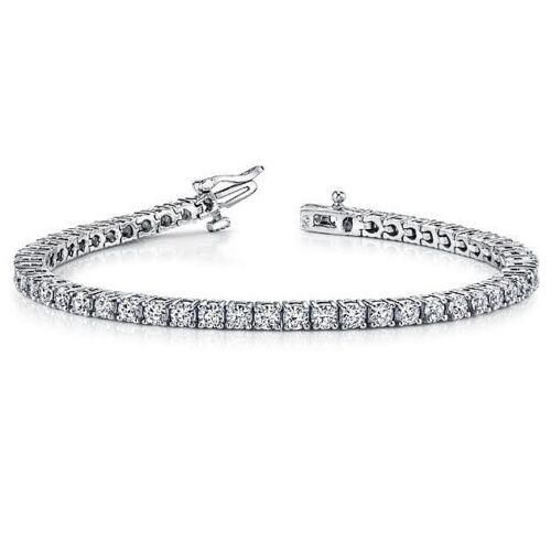 5.25 ct round cut white gold 14k diamond tennis bracelet D VS1 NOT ENHANCED