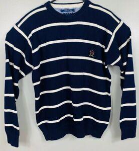 Vintage-90s-Tommy-Hilfiger-Striped-Crew-Sweater-Logo-Mens-Med-Blue-White-EUC-VTG