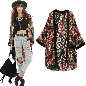 Women Flower Blouse Floral Print Chiffon Kimono Cardigan Jacket ...